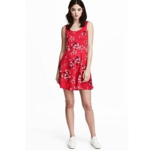 H&M Divided Floral Red Mini Dress Size 10